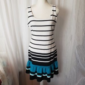 Michael Kors Sleeveless Dress Stripe Ruffle Hem